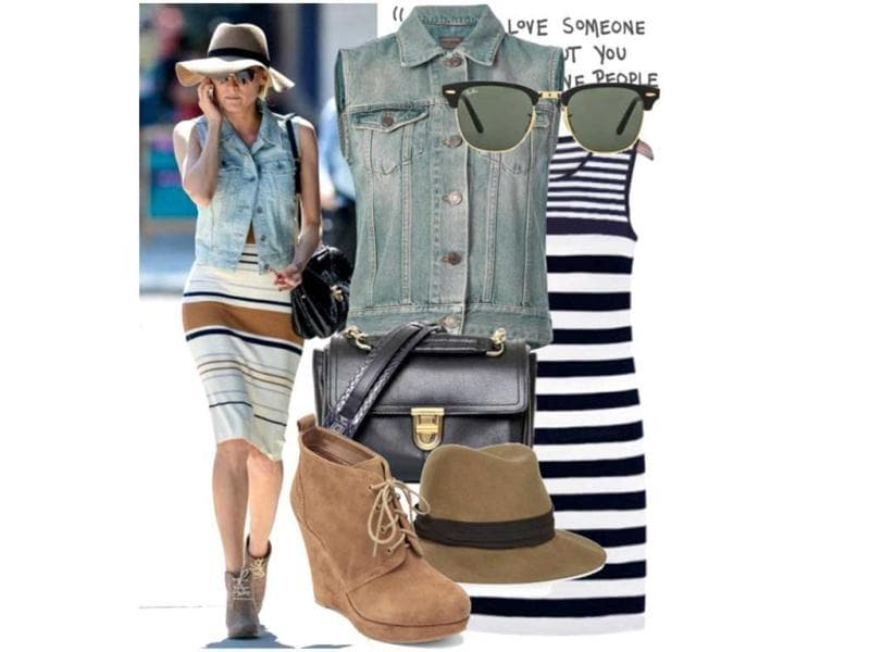 Denim friendGoodnight Macaroon dress, Saint Laurent vest, Jessica Simpson booties, Rag & Bone hat, Ray-Ban sunglasses