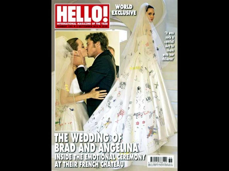 The cover of Hello with exclusive image of Brad Pitt and Angelina Jolie wedding.