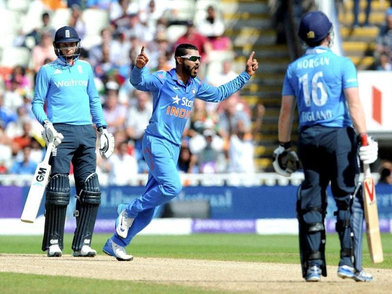 India's Ravindra Jadeja celebrates after bowling England's Eoin Morgan caught Suresh Raina for 32 runs during the fourth One Day International match between England and India at Edgbaston cricket ground, Birmingham, England. (AP Photo)