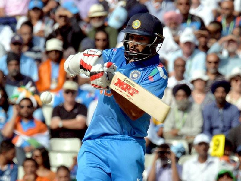 Shikhar Dhawan plays a shot during the fourth ODI between England and India at Edgbaston in Birmingham. (AFP Photo)