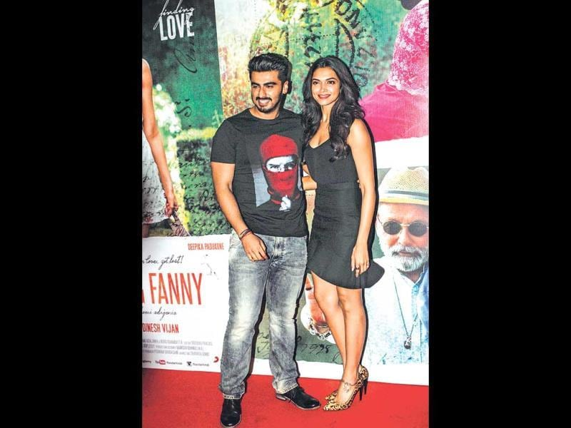 Arjun Kapoor and Deepika Padukone at a promotional event for Finding Fanny. (Photo: Prodip Guha)