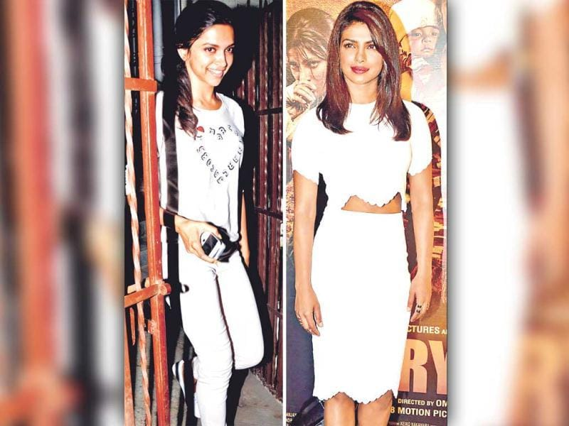 All whites : Going all white like actor Deepika Padukone is a great idea. Club all the whites you have — top, jeans and shoes — together and rock the effortless chic look. | Top of the crop: Actor Priyanka Chopra goes for white separates. Team up your crop top with your pencil skirt. Both can be white or you can go for a different hue for one.