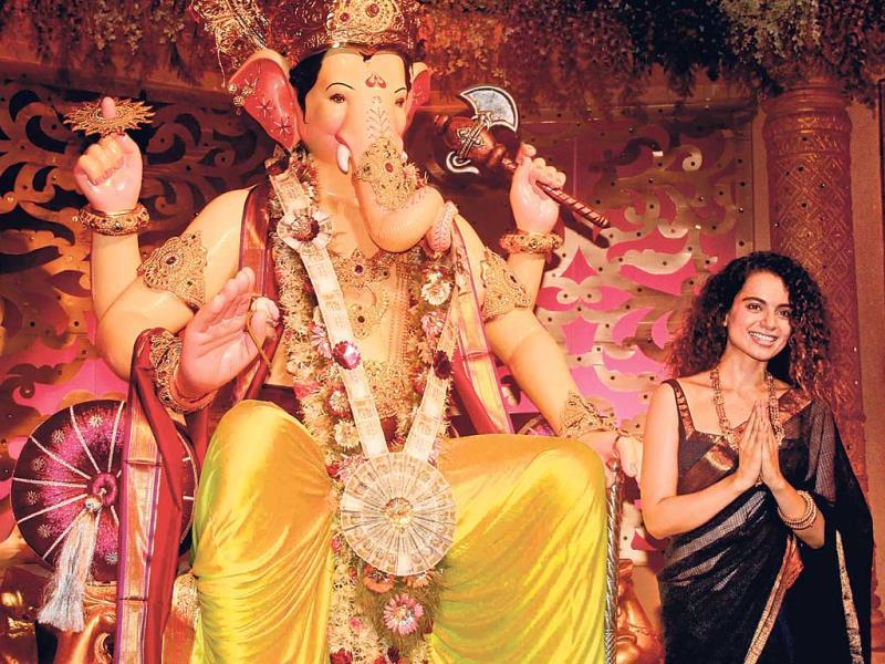 Kangana Ranaut obliges photographers at a Ganesh pandal in the city (Photos: Yogen Shah)