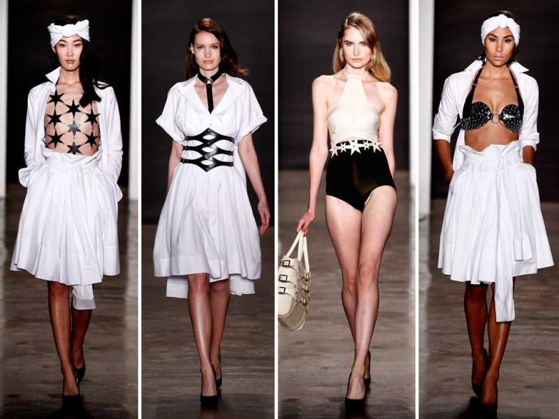 It's that time of year again! Let's travel to New York, where hundreds of designers are unveiling their looks for spring at Mercedes-Benz Fashion Week Spring 2015, also called New York Fashion Week. Here, black and white silhouettes were in full force at the Zana Bayne fashion show. (All Photos AFP)