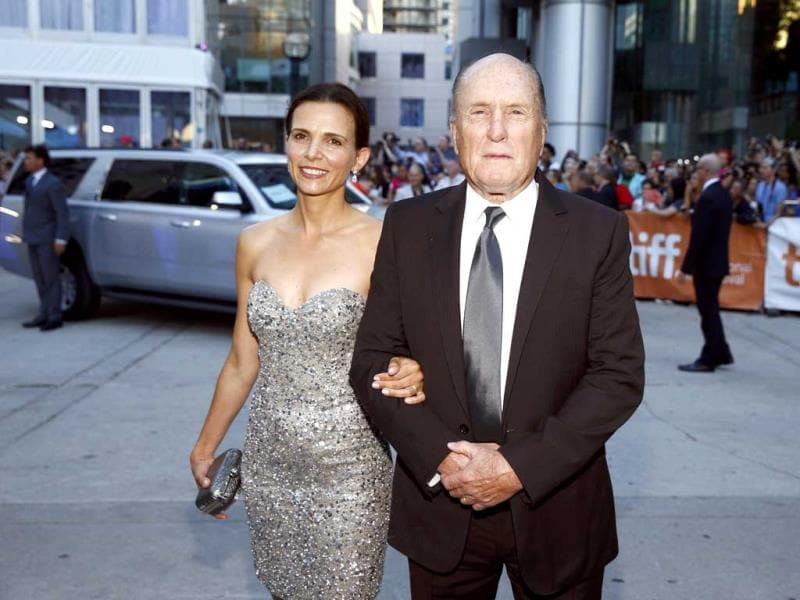 Actor Robert Duvall and his wife Luciana Pedraza pose as they arrive for the gala for the film The Judge at the Toronto International Film Festival in Toronto September 4, 2014. (Reuters)