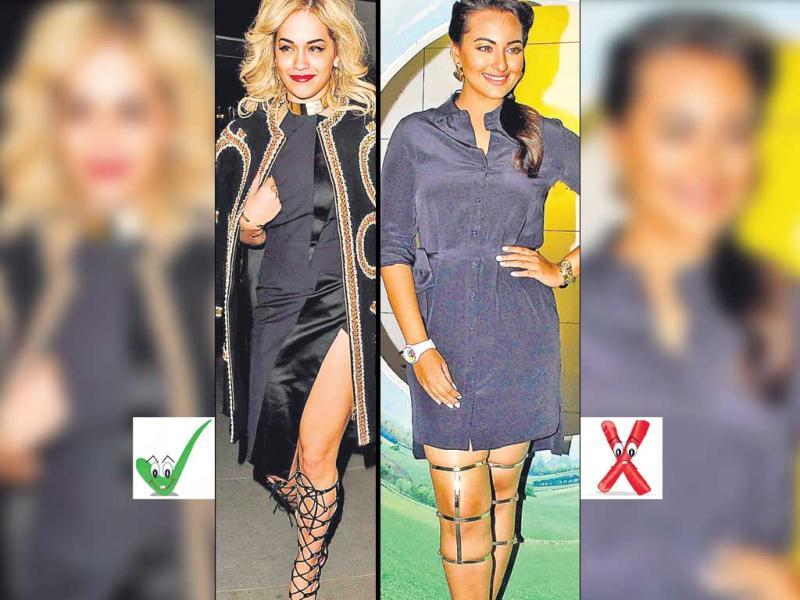 GladiatorsSince they are not your run-of-the mill shoes, styling is the key here. Actor Sonakshi Sinha's (right) gladiator ­sandals ride much above her knees, and seem to be ­imprisoning her legs rather than embracing her pins! The sudden knee clasp looks more like a brace, and mostly like a big eyesore. It also seems out of place with the casual shirt dress. On the other hand, singer Rita Ora (left), in her lacey gladiators, brings in the needed edge, and looks the right amount of dramatic with her black and gold ensemble.