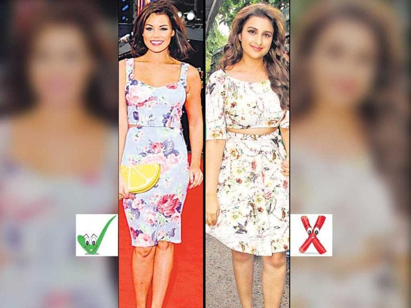 Crop TopCrop tops that shows off just a sliver of skin are must-haves. But actor Parineeti Chopra (right) falters with the sleeves, the snug fit and the unflattering boat neck that makes her look top-heavy. On the other hand, TV star Jessica Wright (left) looks poised in a similar ensemble, thanks to the styling and balanced fit.