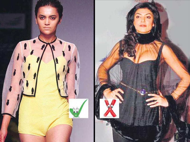 CapeletsPicking capelets blindly might make you look like you are in a Shakespearean costume. Actor Sushmita Sen (right) was clearly missing her stylist when she wore her version. But model Natasha Ramachandran (left), in a Nikhil Thampi creation, shows us how to ace the look.