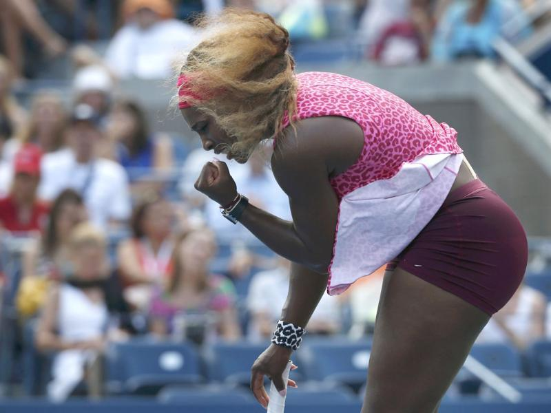 Serena Williams of the US celebrates a point against Ekaterina Makarova of Russia during their semi-final match at the 2014 US Open tennis tournament in New York.  (Reuters)
