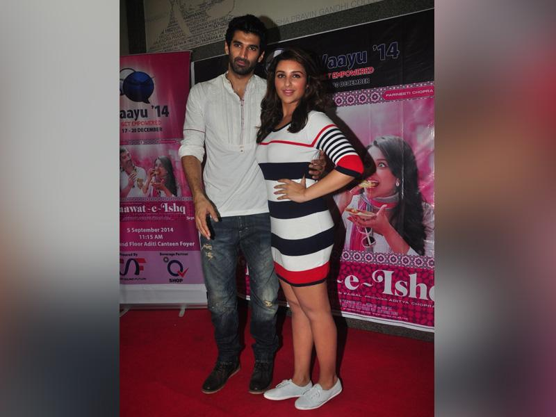 Parineeti and Aditya pose for a photograph at the event. (IANS)