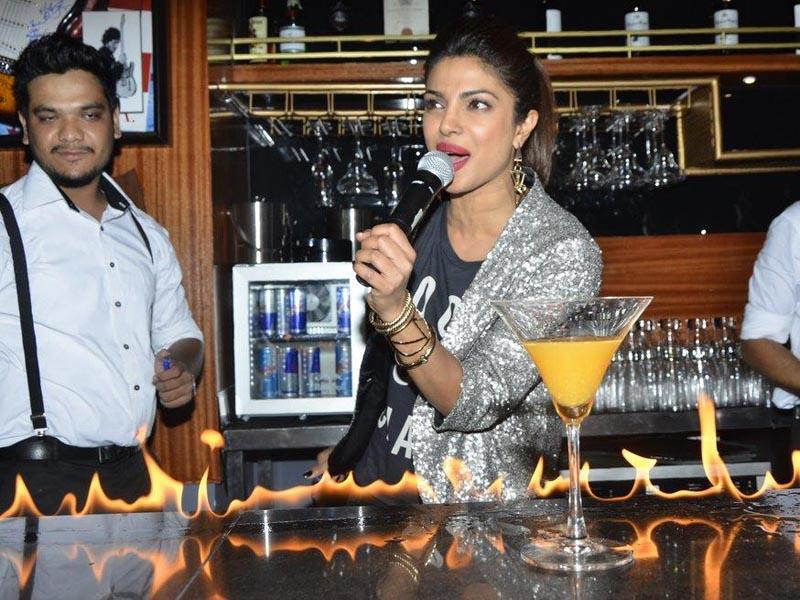 Actor Priyanka Chopra speaks after launching her brother's pub-lounge entitled Mugshot Lounge in Pune. (Photo: IANS)