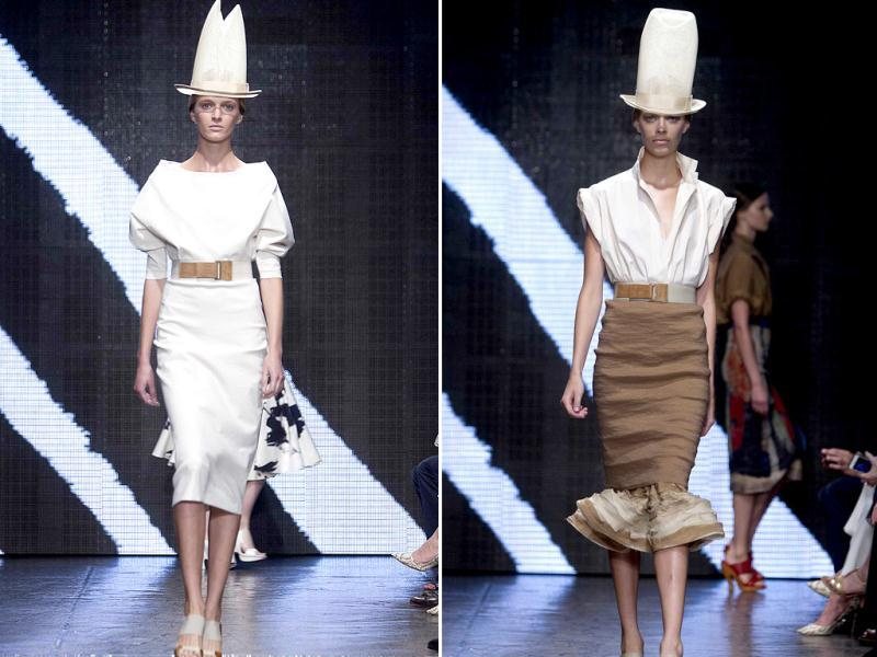 A model presents a creation during the Donna Karan show, where bold colors, lively prints, and the truly unusual - OK, downright bizarre, but fun - hats ruled the ramp. (Reuters)