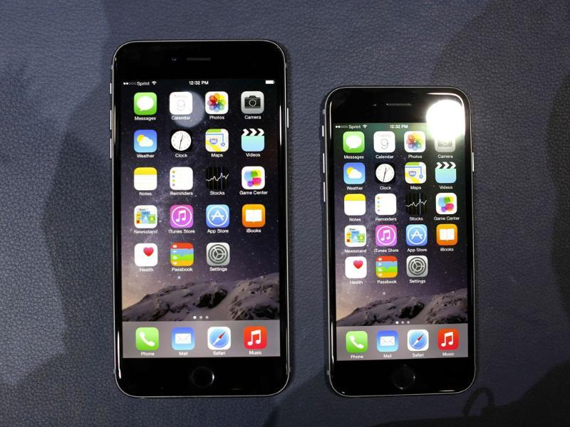 The iPhone 6 and the iPhone 6 Plus are shown during an Apple event at the Flint Center in Cupertino, California. (Reuters Photo)