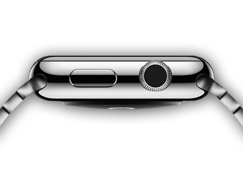 The Apple Watch sports a flat screen with sapphire glass and has a 'digital crown' with a twisting control that lets the user scroll through different functions.