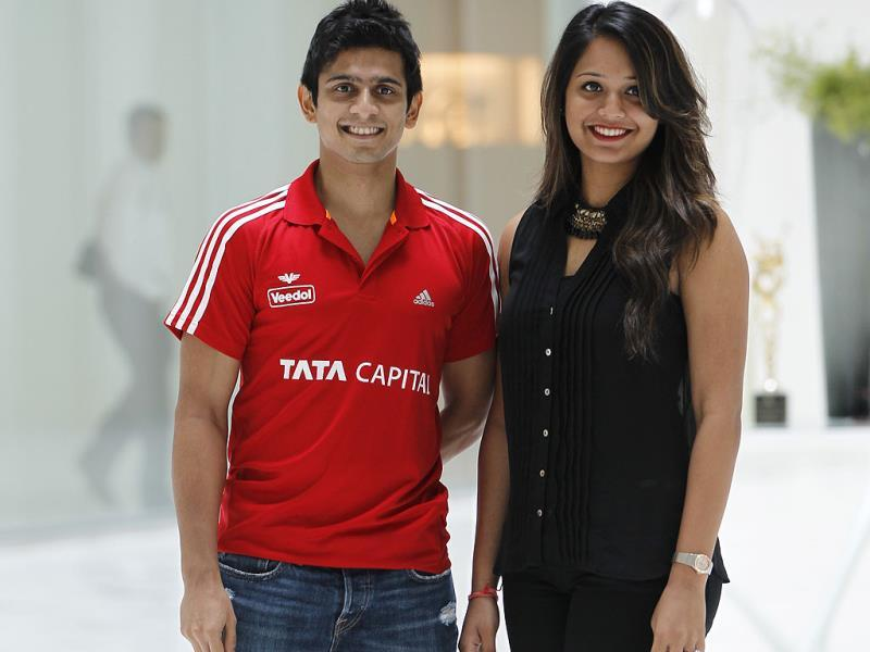 Squash players Saurav Ghosal and Dipika Pallikal at a press conference to announce the JSW Indian Challenger Circuit in Mumbai. (Satish Bate/HT photo)