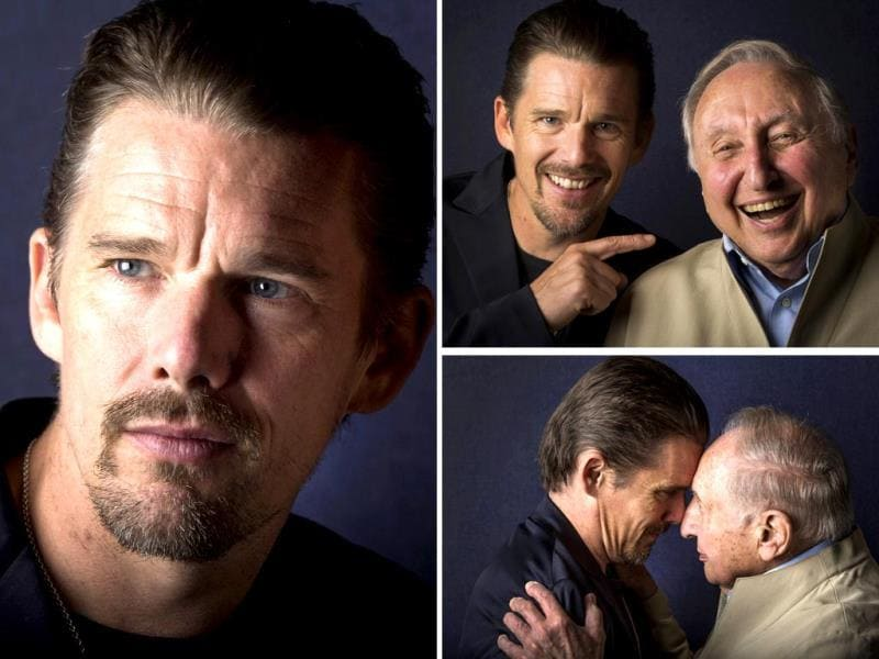 Director Ethan Hawke poses alone and with pianist Seymour Bernstein while promoting his film Seymour: An Introduction during the Toronto International Film Festival on September 10, 2014. (Agencies)