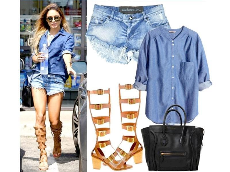 All blue: Now, we don't really believe in taking the denim route all the way, but Vanessa Hudgens's coolness and the awesome pair of gladiators makes us re-consider our initial skepticism.