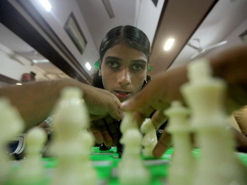 Blind children play chess during the inter-institute chess competition organized by HR College, Churchgate in Mumbai. (Kunal Patil/HT photo)
