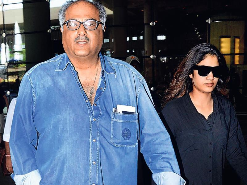 Boney Kapoor with elder daughter Jhanvi were spotted at the Mumbai airport. They were returning from Malaysia. (Photos: Yogen Shah)