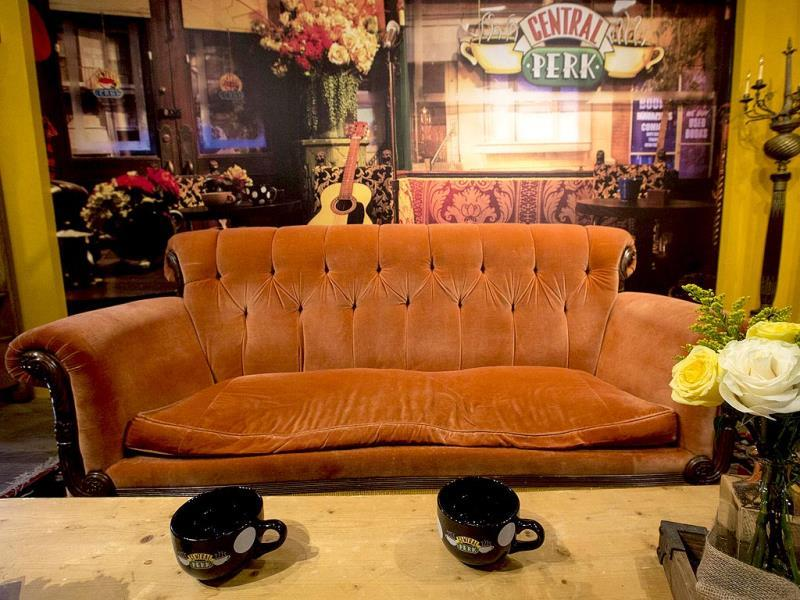 In honor of the 20th anniversary of Friends Warner Bros. and Eight O'Clock Coffee are teaming up to bring a one-month-only pop-up shop, which will be serving free coffee starting Sept. 17. The iconic couch and other props from the fictitious Central Perk Coffee Shop used in the TV show Friends are set up in a store-front in the SoHo section of New York September 15, 2014. REUTERS
