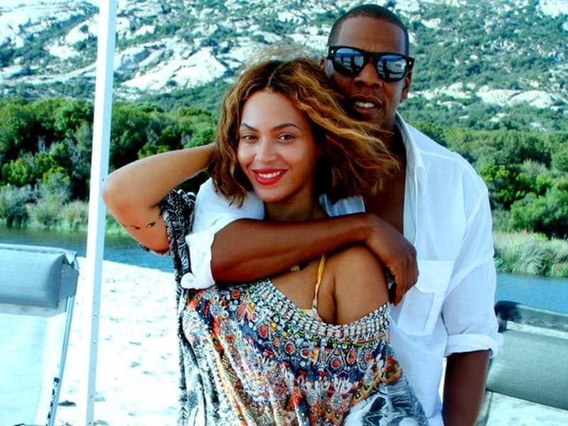 Queen Bey shared images of her latest holiday on her website and titled them 'My Life'. Seen here with husband Jay Z. (Beyonce.com)