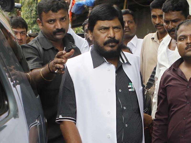 Republican Party of India president Ramdas Athawale interacts with media after meeting the Shiv Sena chief Uddhav Thackeray in Mumbai. (Satish Bate/HT photo)