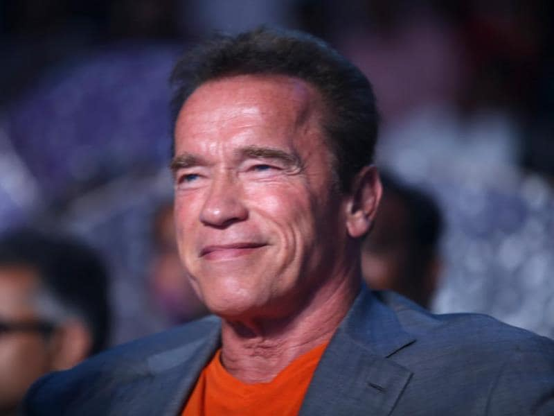 Terminator star Arnold Schwarzenegger reacts to happenings at the audio launch of I in Chennai on September 15, 2014.