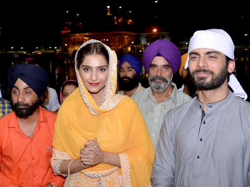 Sonam Kapoor and Fawad Khan at Amritsar's Golden Temple. (AFP)