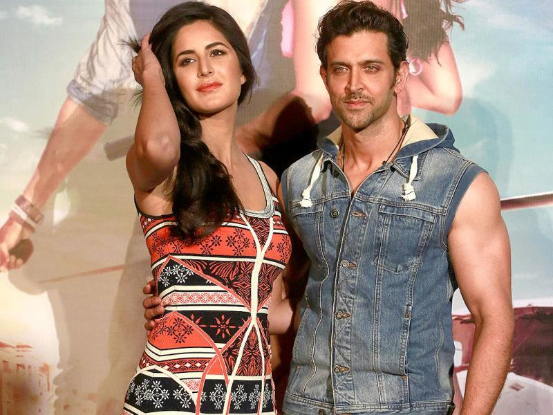 Hrithik Roshan and Katrina Kaif strike pose at the music launch of Bang Bang. The film is scheduled to be released on October 2, 2014 .(AP Photo)