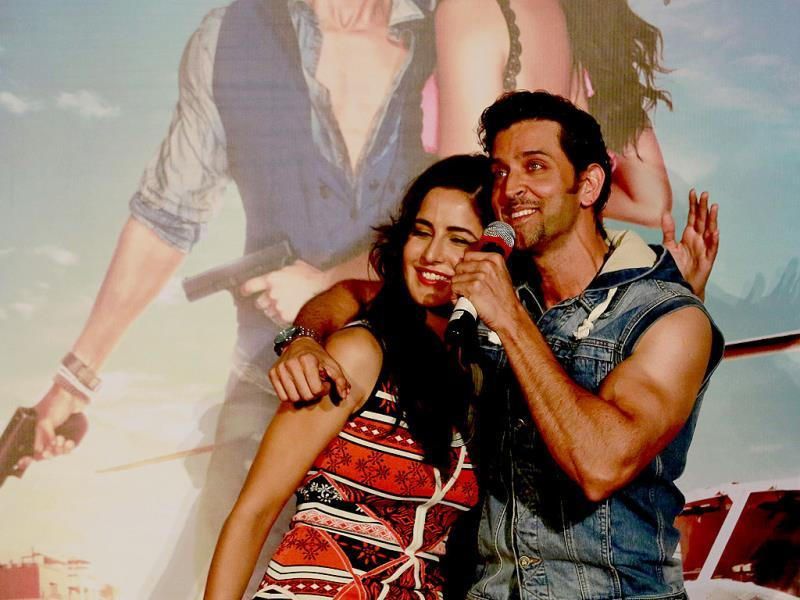 Hrithik Roshan and Katrina Kaif go candid at the music launch of Bang Bang.(AP Photo)