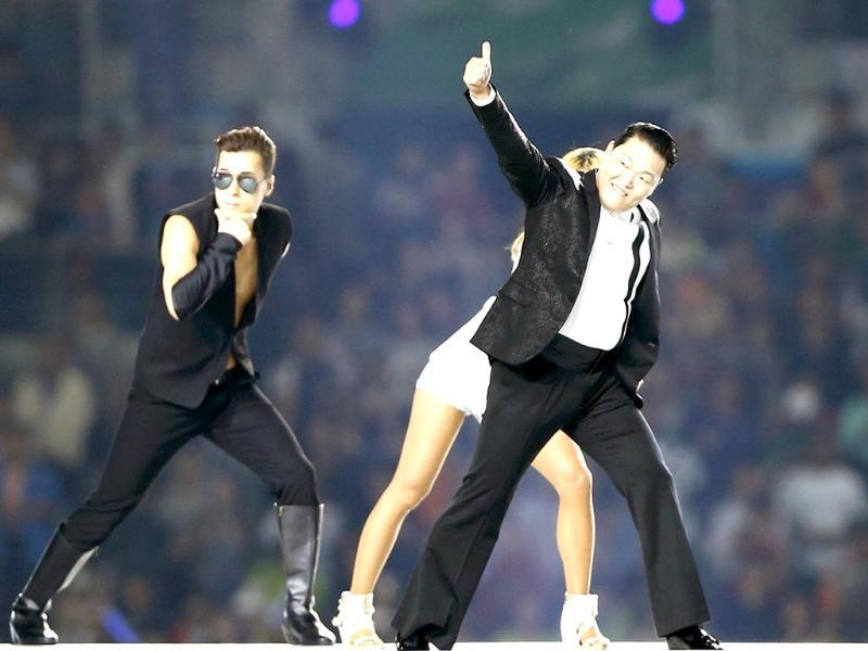 South Korean singer Psy performs during the opening ceremony of the 17th Asian Games in Incheon. (Reuters/Tim Wimborne)