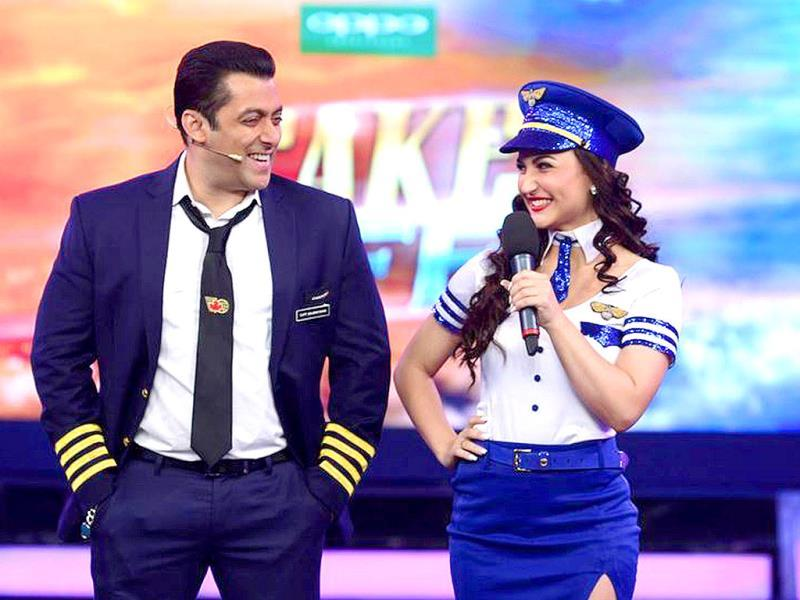 Ex-Bigg Boss contestant Elli Avram dressed up like an Air hostess, in sync with the theme of Bigg Boss 8. (Photo: Colors.in)