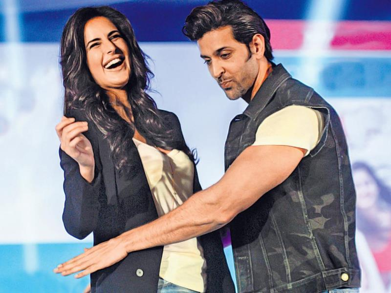 Katrina Kaif and Hrithik Roshan were caught in an animated pose by the shutterbugs.
