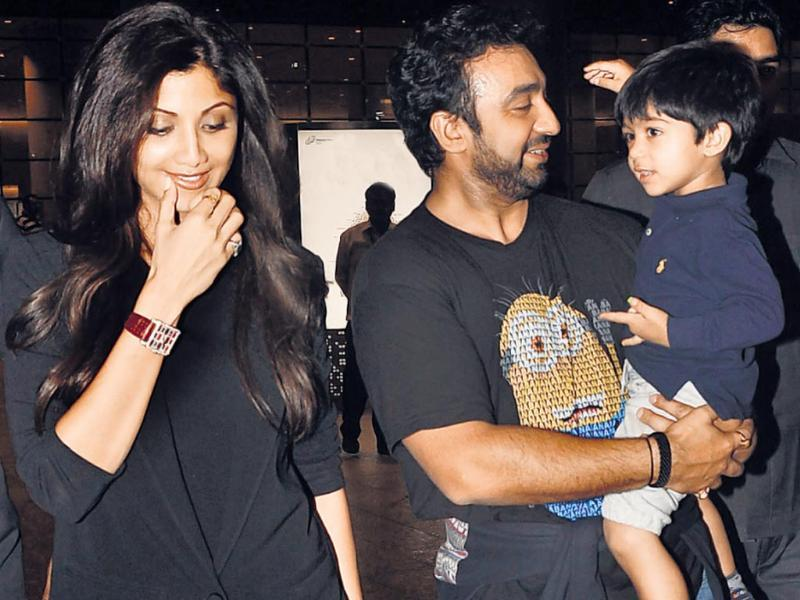 Shilpa Shetty with her husband Raj Kundra and son Viaan Raj Kundra. This star kid has some really stylish birthday parties and already has a Twitter account to boot.