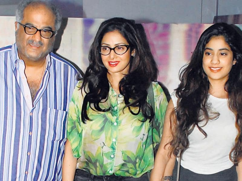 Boney Kapoor along with his wife Sridevi and daughter Jhanvi, attended the screening of a Marathi film.