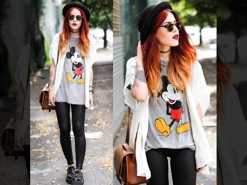 Judging from this oversized t-shirt, it appears the world's most lovable cartoon Micky Mouse is even more fashionable than we thought. This is just the look to try when you're heading to the mall, or are on a trip to your cousin's place, going for a house party or simply running from class to class in college. Pretty cute, we say!