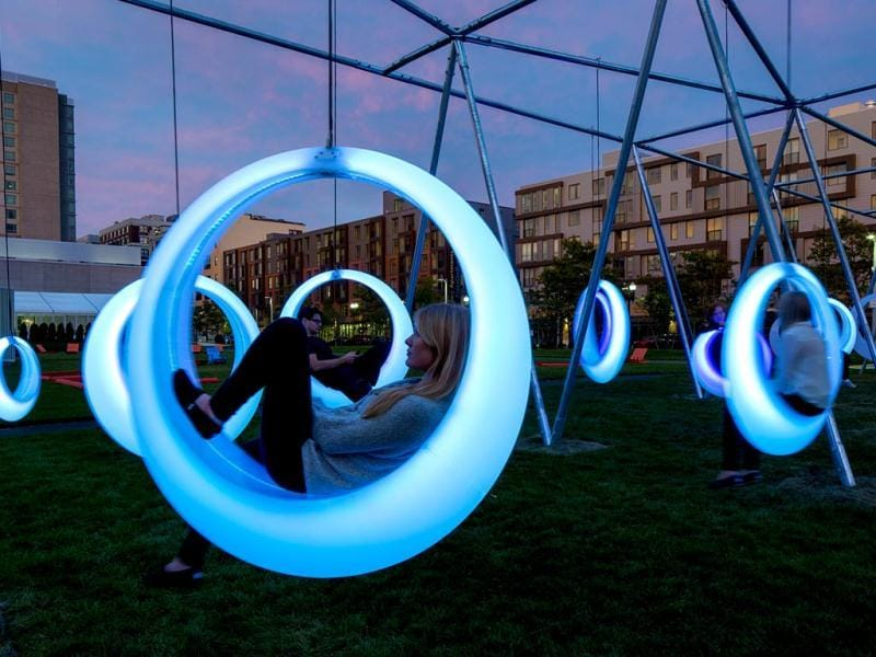 An interactive, glow-in-the-dark playground for adults has been installed in Boston. Custom fabricated from welded polypropylene, the swings emit a static white light when inactive. Check out some interesting photos. (Photos: AFP, AP)