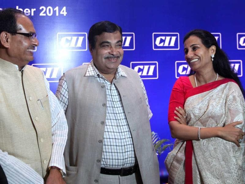 Union transport minister Nitin Gadkari, MP chief minister Shivraj Singh Chouhan and managing director of ICICI Bank Chanda Kochhar during the CII national council meeting in Mumbai. (Kunal Patil/HT photo)