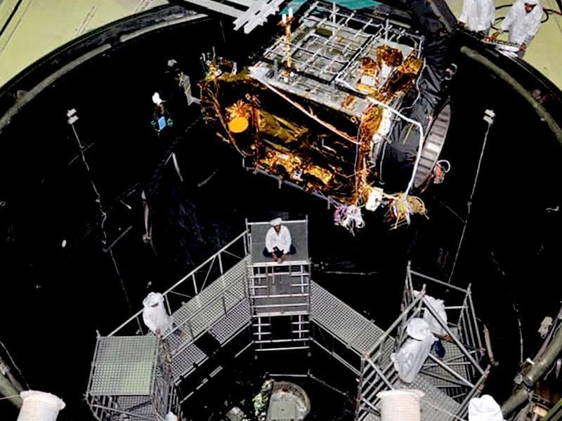 India's Mangalyaan spacecraft sent into simulation chamber for testing ahead of the launch. Image from ISRO.