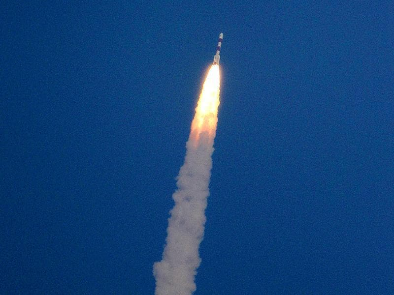 File photo: A rocket carrying the Mars orbiter takes off from the east-coast island of Sriharikota. (PTI Photo)