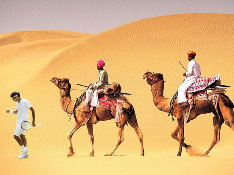 Jay Kamath @ghostfacekamath Sep 23@rogerfederer You must lead an expedition into the dunes of Jaisalmer, Rajastan. It is your destiny. #PhotoshopRF