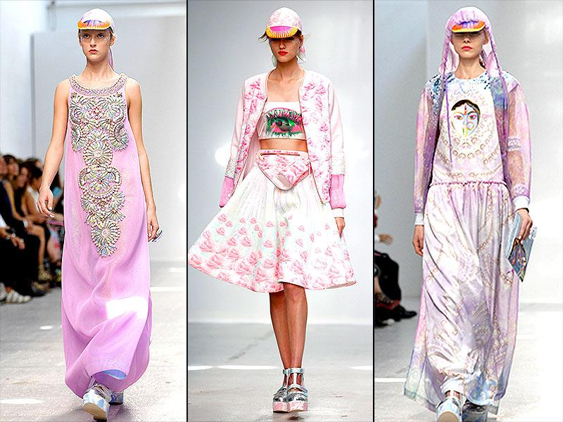 While the collection features an array of pastels, one color is particularly conspicuous: pink. Whether seen as a backdrop or in embroidery, beads and 3D flowers on skirts and dresses, pink seems to be the new black at Manish Arora's show.