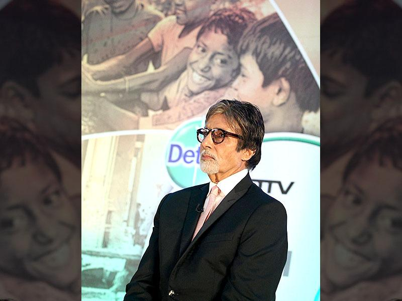 Actor Amitabh Bachchan during the launch of Dettol Banega Swachh India a five-year-nationwide programme by Reckitt Benckiser in Mumbai on September 25, 2014. The programme spreads awareness about the importance of hygiene and sanitation to millions across the country. Amitabh Bachchan is the programme ambassador for the campaign. (IANS)