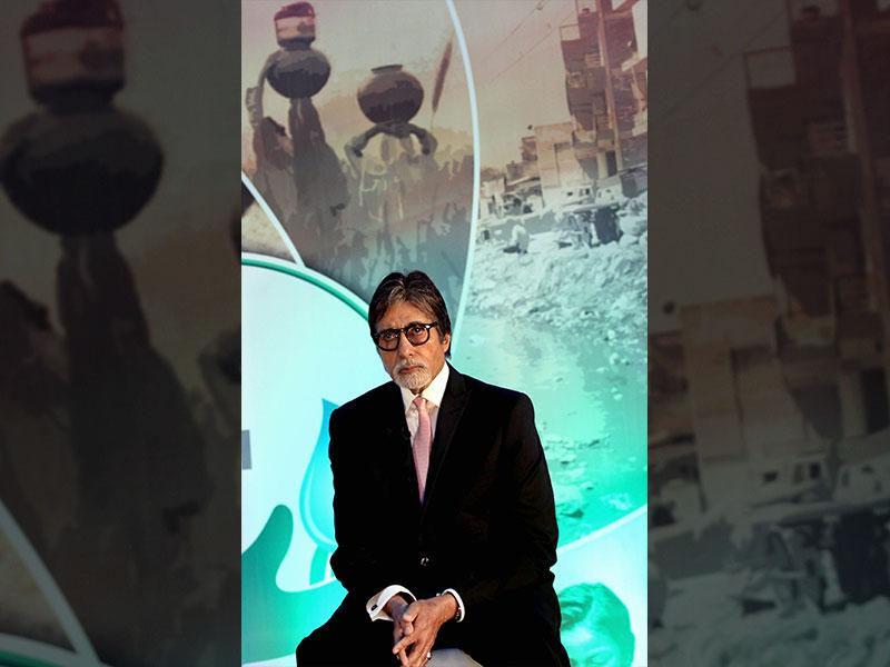 Bollywood megastar Amitabh Bachchan poses during the launch of Dettol's Banega Swachh India nationwide initiative, a five-year-programme addressing hygiene and sanitation in Mumbai on September 25, 2014. (AFP)