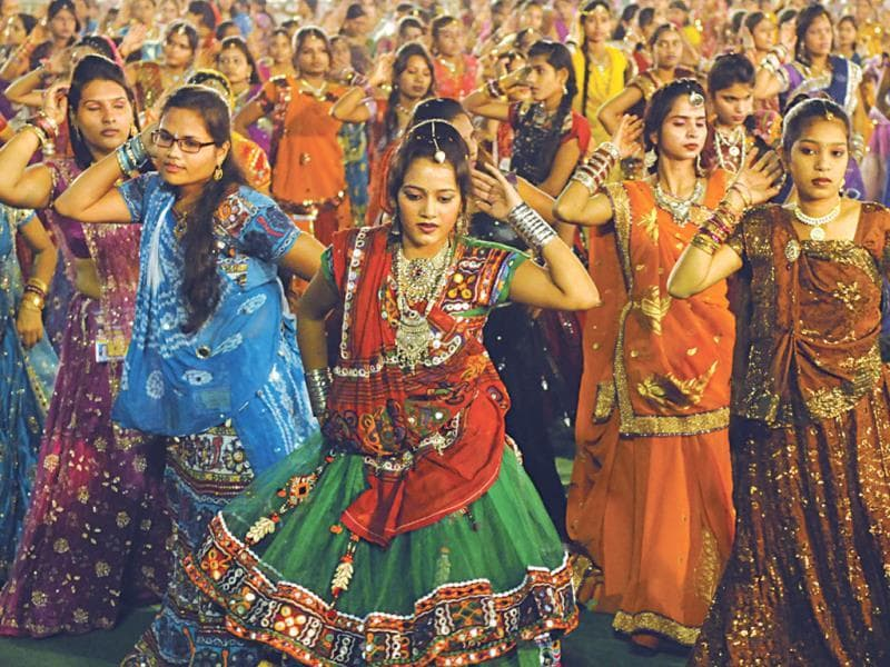 Young girls take part in garba in Indore on the first day of Navratri. (Amit K Jaiswal/HT photo)