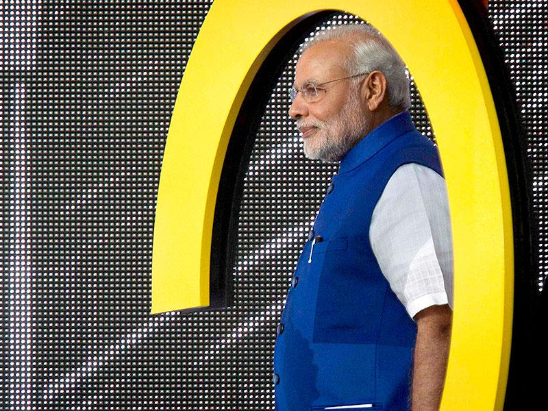 Prime Minster Narendra Modi walks on stage during the Global Citizen Festival concert in Central Park in New York. (Reuters)