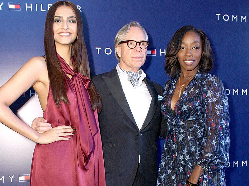American fashion designer Tommy Hilfiger, who is in India to celebrate his brand's 10th anniversary, poses with actor Sonam Kapoor and Estelle. The designer said he feels elated to come back to India because the country is very close to his heart and has influenced his designs over the years. (IANS)