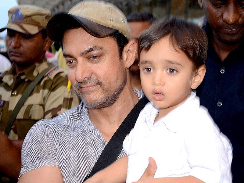 Bollywood star Aamir Khan with his son Azad. With those genes, this junior Khan is likely to create waves in Bollywood once he comes of age. (Hindustan Times Photo)