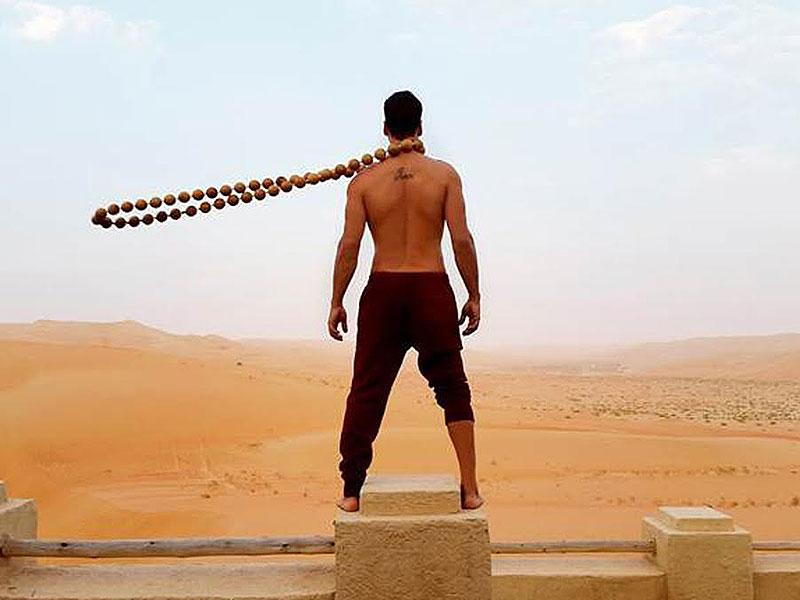 Akshay Kumar poses with wooden beads on the sets of Neeraj Pandey's next Baby.
