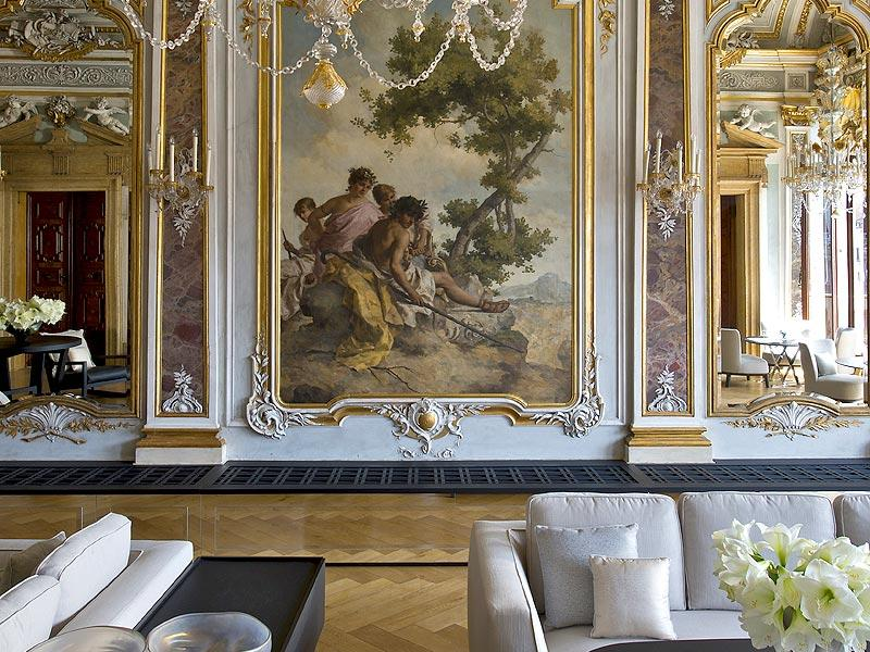 The piano lounge at the Aman Canal Grande in Venice